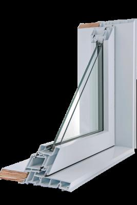 Une coupe de la fenêtre à auvent